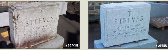 Before and after restoration of a tombstone