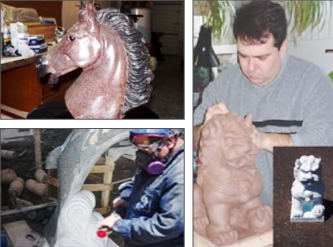 sculpture, a horse, a dolphin and an asian lion